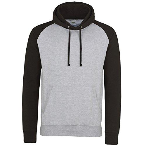 Baseball hoodie AWDis Hoods Streetwear Felpa Cappuccio Uomo Heather Grey-Jet Black
