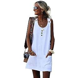 Vestidos de Mujer Casual Cortos, Vestidos de Verano Mujer 2019 Vestido de Playa Vestido de Algodón Lino botón Faldas Cortas Vestido de Bolsillo Vestido Color Sólido de Mujeres,S-3XL