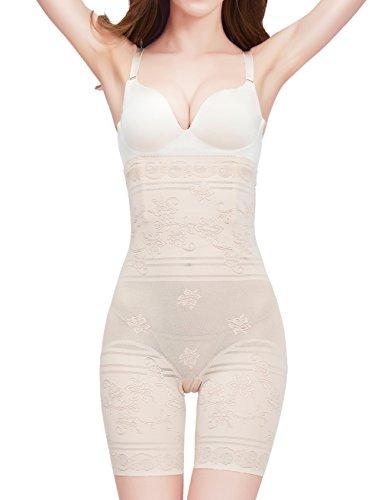 Amhillras Damen Miederpants Bauch weg Effekt Miederhose mit Bein figurenformende Shapehose Figur formende, 4XL für Taillenumfang 102-110cm, Beige