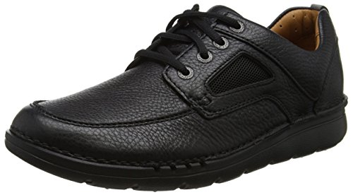 Clarks Unnature Time, Zapatos de Cordones Derby para Hombre, Negro (Black Leather), 41 EU