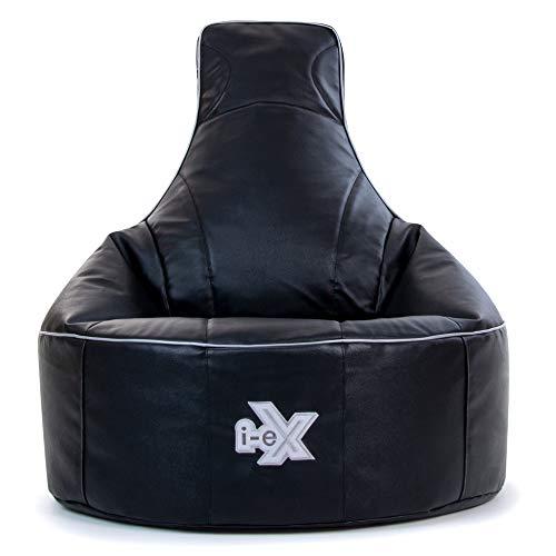 Silla de videojuegos i-eX® Rookie -Cuero sintético – Puf infantil para videojuegos – Ideal para un jugador (color acero/negro)