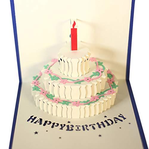 ß up Geburtstagskarten Alles Gute zum Geburtstag Kuchen-Karte für Geburtstags-Geschenk 3 Ebenen Kuchen Pop up Karte mit nettem Kerze ()