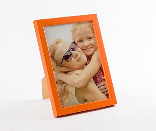 Holz Bilderrahmen von 9x13 bis 30x40 A5 Querformat und Hochformat zum Stellen der Aufhängen Rahmen Farbe Dunkel-Orange - Format 15x21