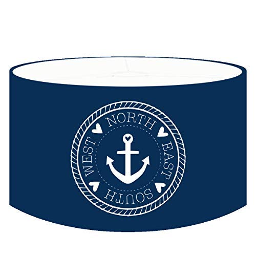 Dannenfelser - Hängeleuchte Kinderlampe ANKERPLATZ Pendelleuchte im maritimen Design, Textil Lampenschirm rund marineblau, Kompass mit Anker weiß, Kinderzimmerlampe Ø 35cm #15320