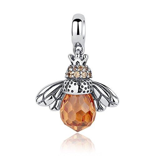 Presentski 925 Sterling Silber Honig Königin Bienen Kristal Schmuck Anhänger für Halsketten Mädchen Mamma (Bee-schmuck-box)
