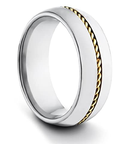 8MM Tungsten Carbide Ladies/Mens/Unisex Classic Styled Polished Comfort Fit Wedding Band Ring w/ Gold Braided Inlay (Available Sizes N - Z+2)