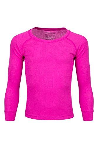 Mountain Warehouse Talus Kinder-Rundhalsoberteil Unterhemd Thermounterwäsche Skiunterwäsche Langarmshirt Winter Baselayer leuchtendes Pink 104 (3-4 Jahre)