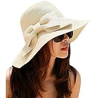 Leisial Sombrero de Paja Arco Beige Sombrero de Playa de Ala Ancha Sombrero  para el Sol efdfad5fdba