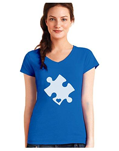 Green Turtle T-Shirts Camiseta de Cuello V para Mujer - Autism Awareness Heart Cut Puzzle - Concienciación Sobre el Autismo XX-Large Azul