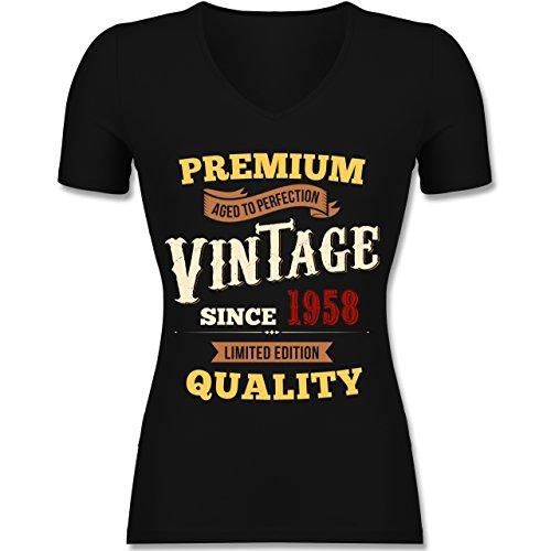 Shirtracer Geburtstag - 60. Geburtstag Vintage 1958 - Tailliertes T-Shirt mit V-Ausschnitt für Frauen Schwarz