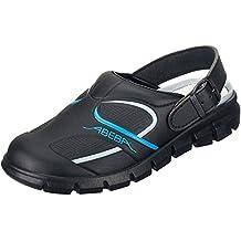 Zapato Profesional OB, A,E,FO SRC, con Microfibra A Color Negro con Correa Ajustable - Adecuado para Cocina - Conforme a HACCP - Negro/Azul, 47