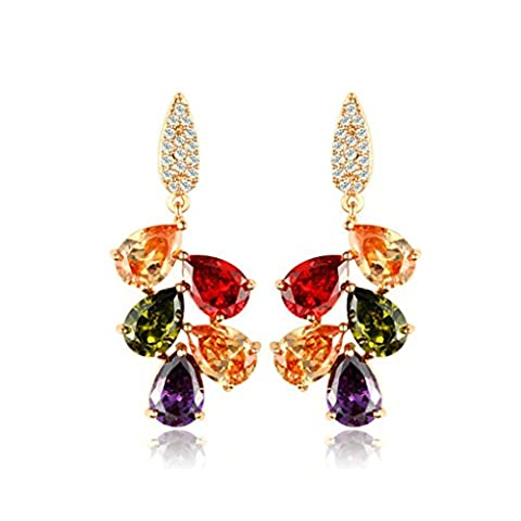 Daesar Gold Plated Earrings Womens Stud Earrings Cubic Zirconia Earring Teardrop Leaf Earrings