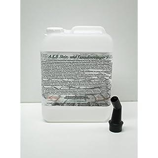 A.K.B. Stein- und Fassadenreiniger S Vollkonzentrat, 3365,(5 Liter + 1 Ausgiesser), effektiver Dachreiniger !, flechtenentferner (6-9 Monate), grünbelagentferner, moosentferner, BauA Nr. N-69211