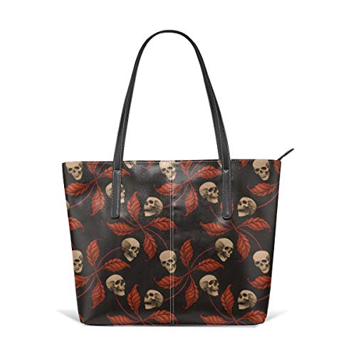 Tote Shoulder Bag VINTAGE HALLOWEEN CHERRY SKULL Small Scale Collection Cherry Skull Rock 'n' Roll Old School Tattoo Print Fashion Handbags Satchel Purse ()