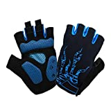 Atmungsaktive Heimtrainer Handschuhe Sommer Schock Atmungsaktiv Anti-Rutsch-outdoor Half Finger Silikon(Blue,M)