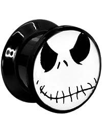 1x Acrílico Túnel Tunnel Dilatador Oreja Pendientes Dilataciones Piercing Flor Motivo Retro Diablo Esqueleto Búho Ø