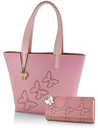 Butterflies Women's Handbag (Baby Pink) (BNS WB0176)