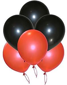 GrandShop 50262 Toy Balloons Metallic HD Black & Red (Pack of 50)