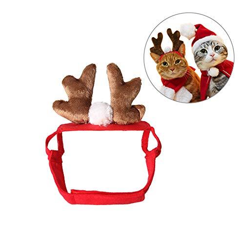 FEIDAjdzf Haarband mit Rentier-Geweih-Ohren, Hund, Katze, Hirsch, Geweih, Stirnband, Weihnachten, Party, Urlaub, Kopfbedeckung, Geschenk