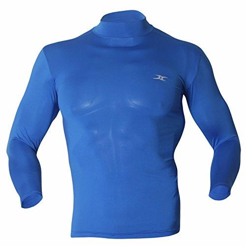 Mock Rollkragenshirt für Herren, langärmlig, Kompressionsshirt Gr. L, blau Nike Mock Neck