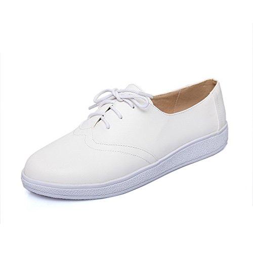 VogueZone009 Femme Couleur Unie Pu Cuir à Talon Bas Rond Lacet Chaussures Légeres Blanc