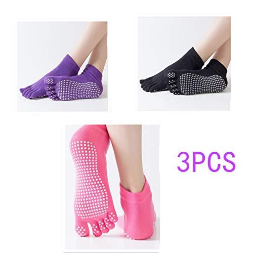 Znme66 3 paia di calzini antiscivolo per yoga e pilates, con pianta in cotone, da donna, misura unica