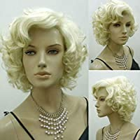 Bluelover Blonde Marilyn Monroe Fashion Curly Wig Cosplay Hair Full Wigs Hot Style Short