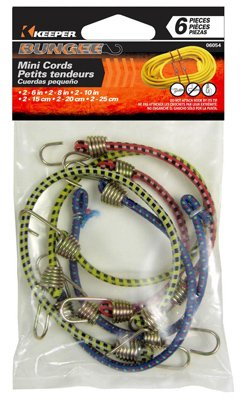 Keeper 06054 Assorted Mini Bungee Cords, 6 Piece by (Keeper Bungee)