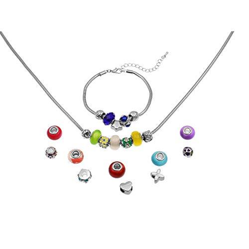 VALIOSA 1103 Mode-Schmuck mit Halskette, Armband + 22 individuelle Perlen-Anhänger aus Glas und Metall, Das Besondere Geschenk für Mädchen und Frauen, bunt, 24-teilig (1 Set)