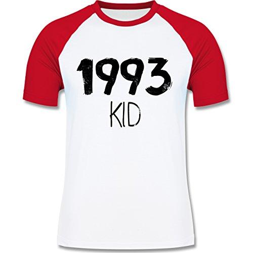 Geburtstag - 1993 KID - zweifarbiges Baseballshirt für Männer Weiß/Rot