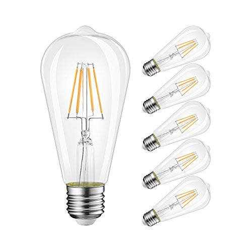 Lvwit st64 6w edison stile vintage led filamento luce lampadine 2700k bianco caldo 800lm e27 lampadina 60w incandescente equivalente non-dimmerabile 6-pack