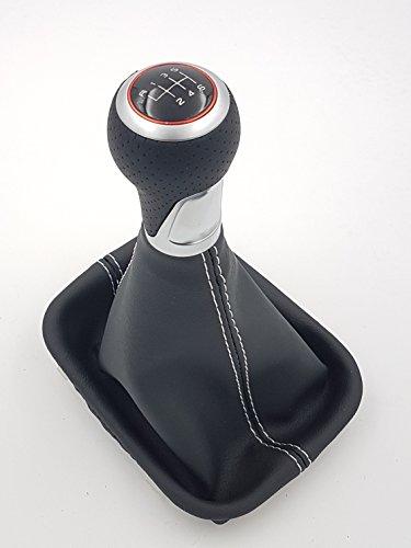 TK-Pommeau 989 + Soufflet /6 G/coutures blanc/Bague intérieure Rouge