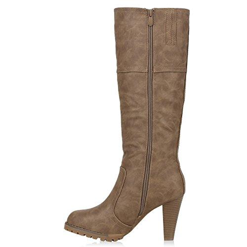 Klassische Damen Stiefel Lederoptik Boots Langschaft Schuhe Khaki Khaki