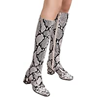 Geili Damen Langschaft Stiefel Mode Schlangenhaut Muster Lederstiefel mit Blockabsatz Frauen Sexy High Heels Kniestiefel... preisvergleich bei billige-tabletten.eu