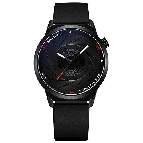 Reloj de pulsera unisex, para hombre o mujer, engranaje Quartz, diseño simple con correa de goma, esfera emulando objetivo fotográfico, de Break