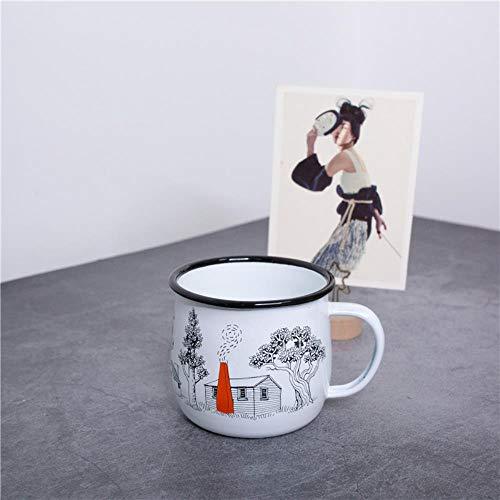 HENGCHENG Keramiktasse Cappuccinotassen 9Cm 360Ml Nach Finnland Pastoral Comic-Stil Emaille Kaffeemund Verdicken Große Milchdessert Mit Henkel