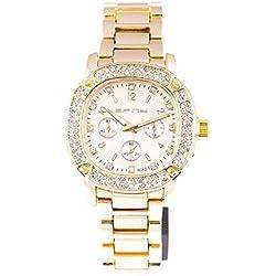 Herren Gold Rund Armbanduhr Iced Out Zifferblatt Mode Quarz Armbanduhr