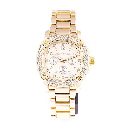 Da uomo, oro rotondo Iced out quarzo quadrante moda dell' orologio