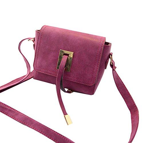 GSPStyle Damen Schultertasche Handtasche Retro Stil Umhängetasche Cross Body Tasche Dunkelrosa