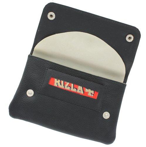 Ashlie Leder Tabakbeutel mit Gummifütterung und Papierhalter AC410 Schwarz (Schlüsselkasten Herren Geldbörse)