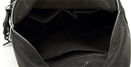 SHFANG Frauen Doppel Schulter Tasche Student Schultasche Freizeit Fransen Reißverschluss Shopping Reisen Multifunktionale Schwarz Große Trompete , black trumpet black trumpet
