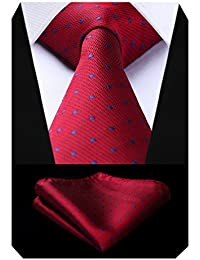 BIYINI Men's Polka Dot Tie Handkerchief Jacquard Woven Classic Men's Necktie & Pocket Square Set
