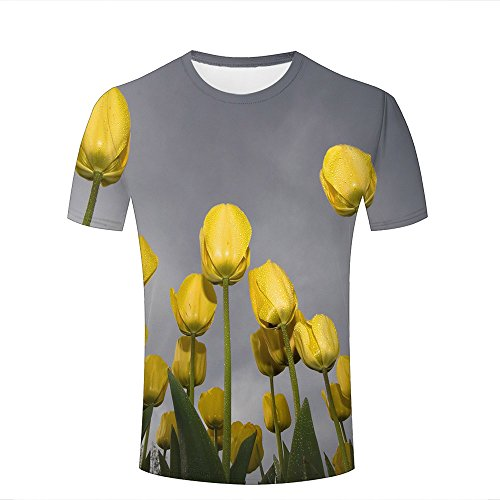 Mens Casual 3D Print Short Sleeve T-Shirts Fragrant Yellow Tulips Graphic Couple Tees S -