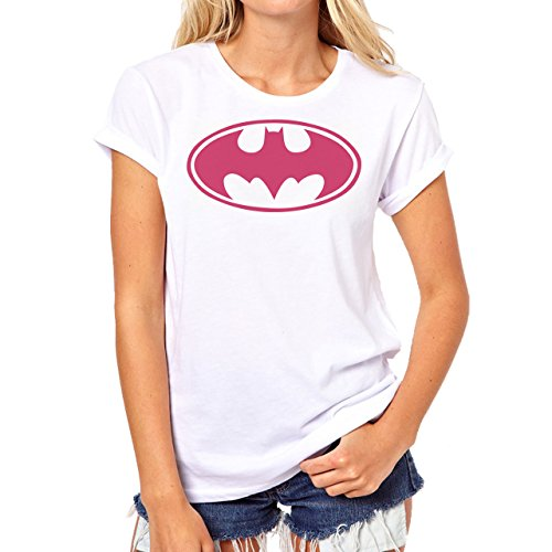 Batman Logo Pink Background Damen T-Shirt Weiß