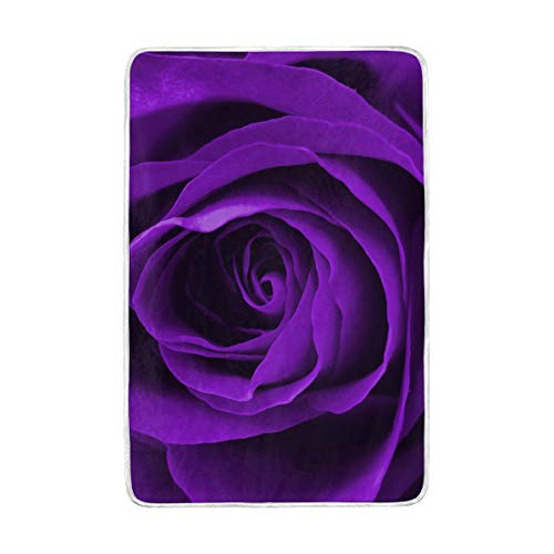 DOSHINE Zwillings-Decke, Blumen-Blumen-Rosen-Violett, weich, leicht, wärmend, 152,4 x 228,6 cm, für Sofa, Bett, Stuhl, Büro