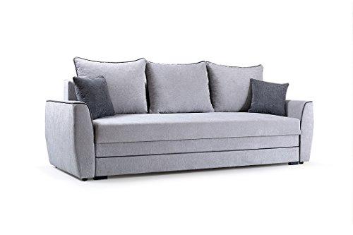 Couch mit Schlaffunktion Sofa Schlafsofa Wohnzimmercouch Bettsofa Ausziehbar Grau mit Kissen IZZY (Hellgrau)