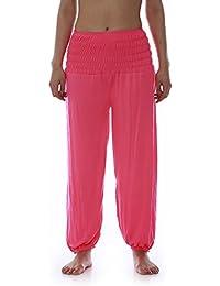 Damen Yoga Pant 19 Farben Haremshose Pumphose Pluderhose bequem Einheitsgröße S - XXL, Farbe:neonpink
