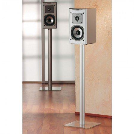 VCM 2x Surroundstand Stand Alu Halterung Glas Standfuss Boxenständer Lautsprecher Ständer Klarglas