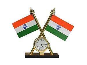 Speedwav Indian Flag With Clock For Car