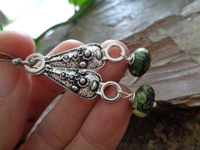 ? vert Heather PERLE PIERRE & OBLONG NUPSIE ORNEMENT ? boucles d'oreilles bohème ethno hippie
